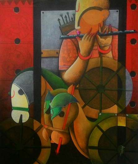 Anupam Pal | Acrylic Painting title Parthasarathi 9 on Canvas | Artist Anupam Pal Gallery | ArtZolo.com