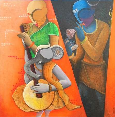Figurative Acrylic Art Painting title Rathym Divine5 by artist Anupam Pal