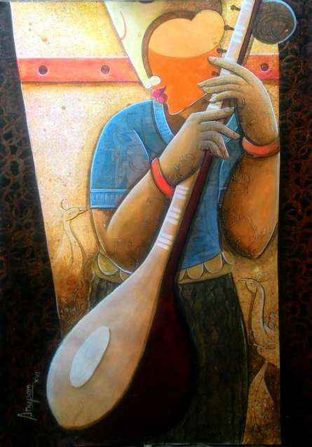 Figurative Acrylic Art Painting title 'Rhythm Divine 32' by artist Anupam Pal