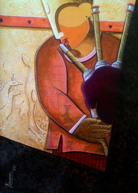 Figurative Acrylic Art Painting title 'Rhythm Divine 35' by artist Anupam Pal
