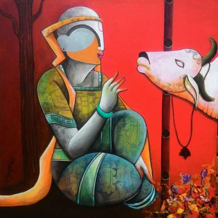 Figurative Acrylic Art Painting title In a conversation by artist Anupam Pal