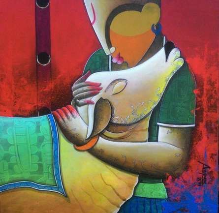 Figurative Acrylic Art Painting title Rhythmic conversation 2 by artist Anupam Pal