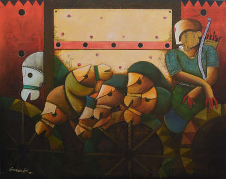 contemporary Acrylic Art Painting title 'Parthasarathi 17' by artist Anupam Pal