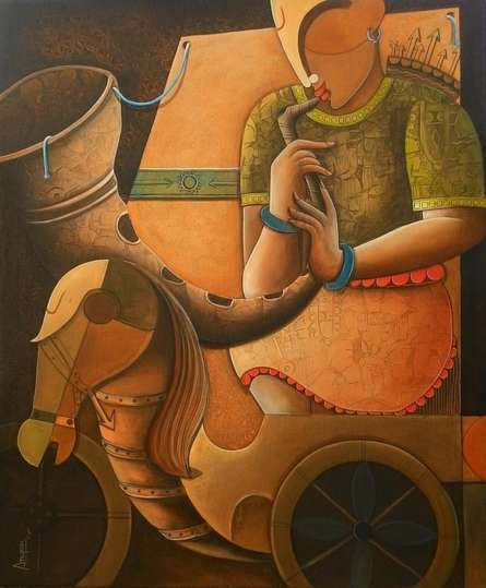 Figurative Acrylic Art Painting title 'Parthasarathi 5' by artist Anupam Pal