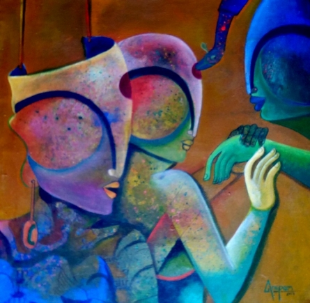 Anupam Pal | Acrylic Painting title Perceptibility on Canvas | Artist Anupam Pal Gallery | ArtZolo.com