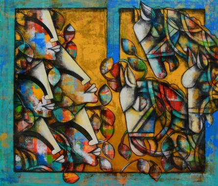 contemporary Acrylic-charcoal Art Painting title 'Power Of Speed 8' by artist Anupam Pal