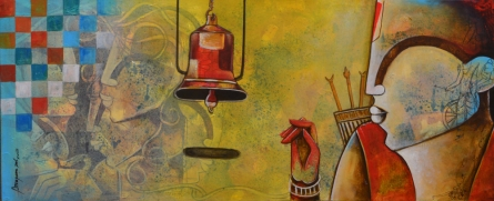 Mixed Media Painting titled 'The bell of devotion' by artist Anupam Pal on canvas