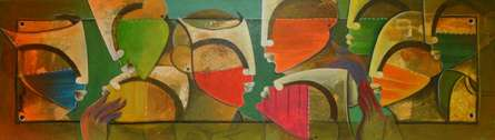 Rang Barse   Painting by artist Anupam Pal   mixed-media   Canvas