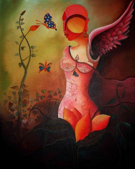 Anupam Pal | Acrylic Painting title Raving Beauty on Canvas | Artist Anupam Pal Gallery | ArtZolo.com