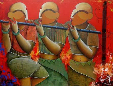 Rhythmic conversation | Painting by artist Anupam Pal | acrylic | Canvas