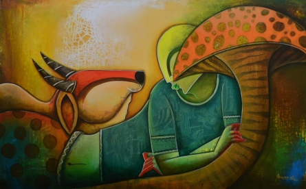 Figurative Acrylic Art Painting title 'Relex' by artist Anupam Pal