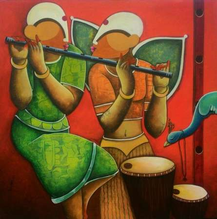 Figurative Acrylic Art Painting title Tunes of devotion by artist Anupam Pal