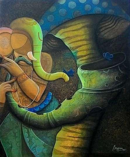 Figurative Acrylic Art Painting title 'Rhydam Divine 12' by artist Anupam Pal