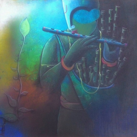 Figurative Acrylic Art Painting title Flute seller by artist Anupam Pal