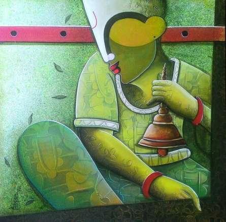 Figurative Acrylic Art Painting title 'Rhytham Devine 26' by artist Anupam Pal
