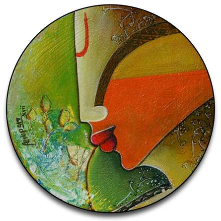 Untitled round | Painting by artist Anupam Pal | acrylic | canvas
