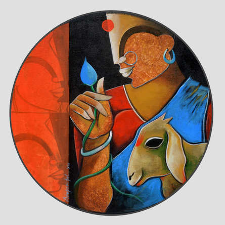 contemporary Acrylic Art Painting title 'Floral Beauty' by artist Anupam Pal