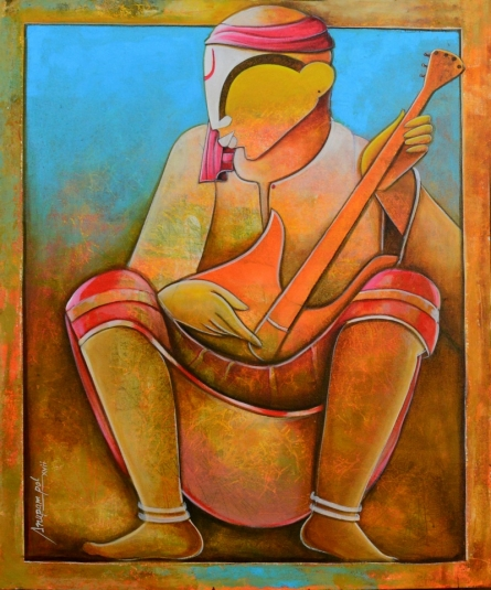 contemporary Acrylic Art Painting title 'Solo Rhythms' by artist Anupam Pal