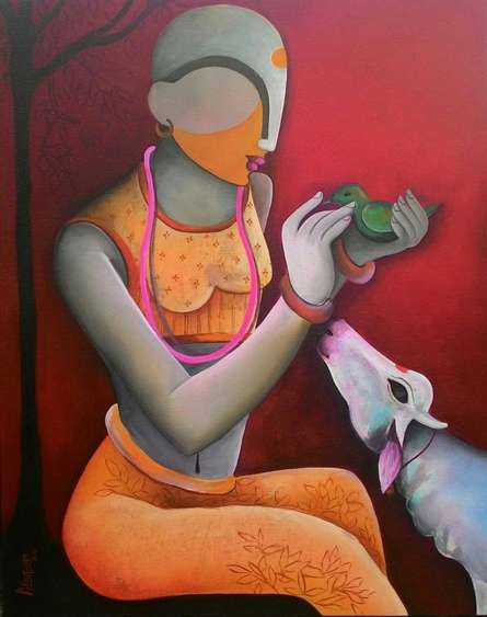 A Litle Conversation | Painting by artist Anupam Pal | acrylic | Canvas