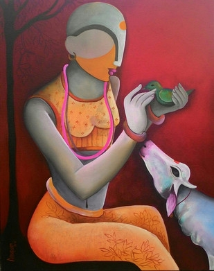 Figurative Acrylic Art Painting title 'The Litle Conversation' by artist Anupam Pal