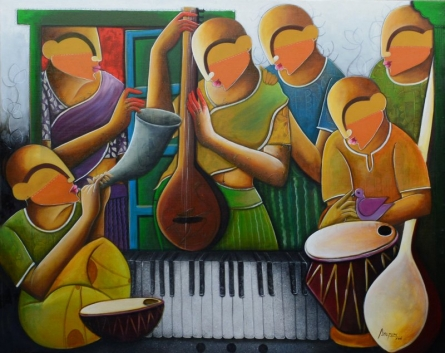 Figurative Acrylic Art Painting title 'The Musical Band 2' by artist Anupam Pal