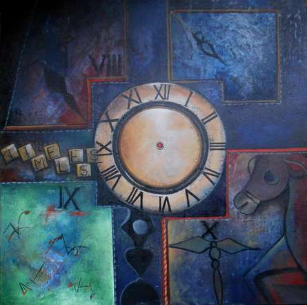 Abstract Acrylic Art Painting title 'Time Less Journey' by artist Anupam Pal