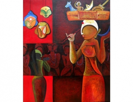 Abstract Acrylic Art Painting title 'Toysaller' by artist Anupam Pal