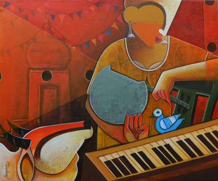 Anupam Pal | Acrylic Painting title Musician on Canvas | Artist Anupam Pal Gallery | ArtZolo.com
