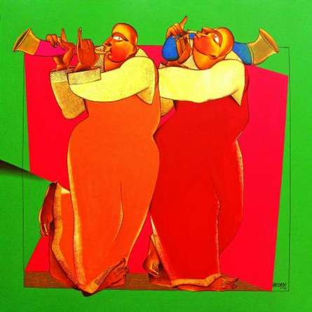 Motivational Acrylic Art Painting title 'Folk Music I' by artist Shantkumar Hattarki