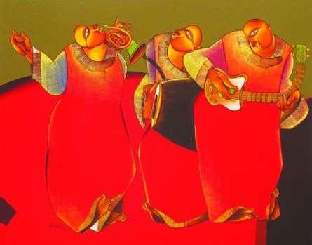 Motivational Acrylic Art Painting title Folk music III by artist Shantkumar Hattarki