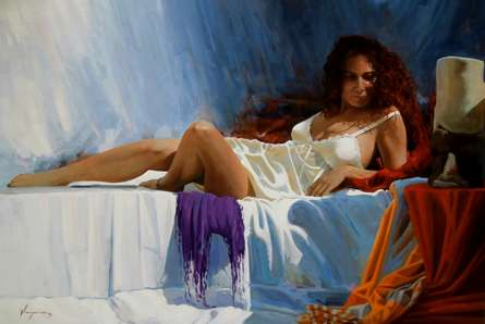 Figurative Oil Art Painting title 'La mujer del pelo rojo II' by artist Jose Higuera