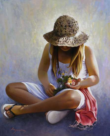Three flowers | Painting by artist Jose Higuera | oil | 31.9x39.4