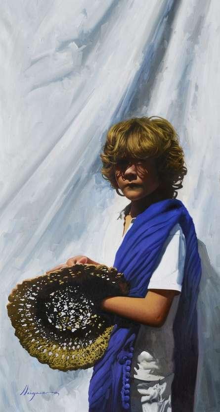 Figurative Oil Art Painting title 'El vendedor de sombreros' by artist Jose Higuera