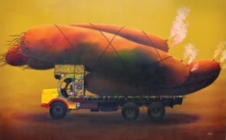 Carry Across Budding Cosmos | Painting by artist Jagesh Edakkad | acrylic | Canvas