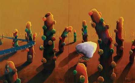 Budding Cosmos | Painting by artist Jagesh Edakkad | acrylic | Canvas