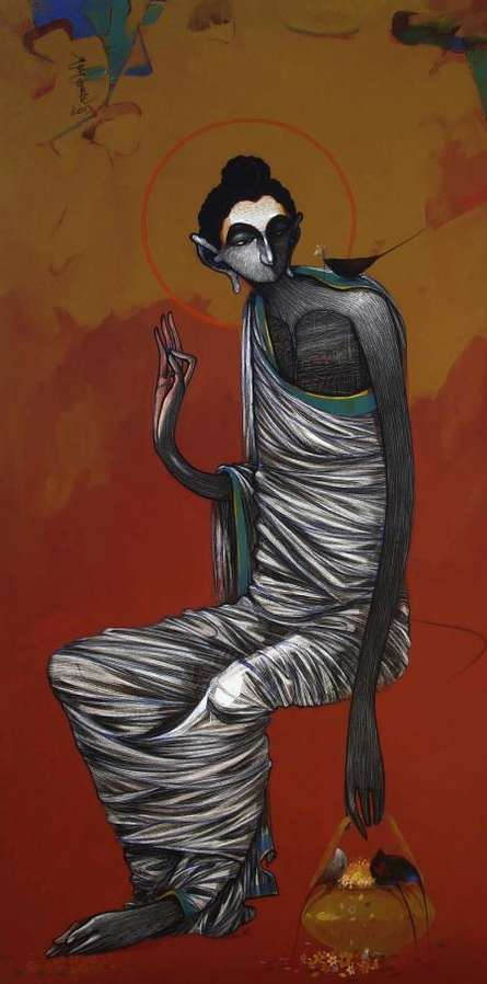 Figurative Acrylic Art Painting title 'Buddha 1' by artist Sanjay Sable