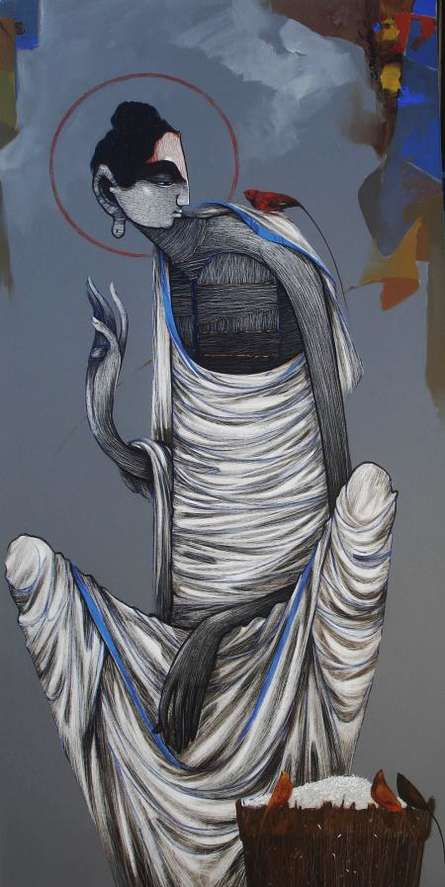 Figurative Acrylic Art Painting title 'Buddha 4' by artist Sanjay Sable