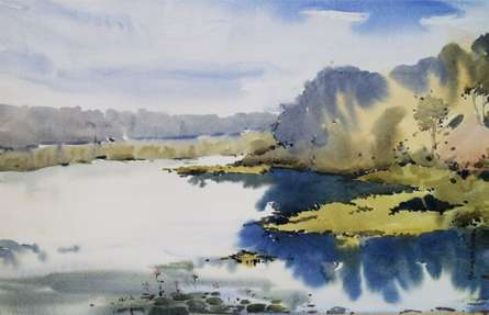 Landscape Watercolor Art Painting title 'Futala Lake' by artist Ghanshyam Dongarwar
