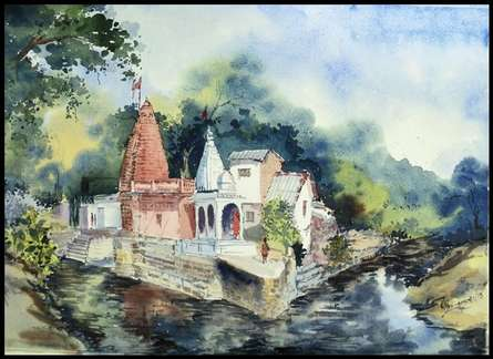 Hanuman Temple | Painting by artist Ghanshyam Dongarwar | watercolor | cold pressed
