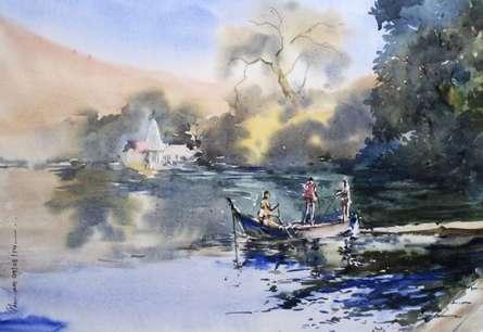 Landscape Watercolor Art Painting title 'Ambala Lake' by artist Ghanshyam Dongarwar