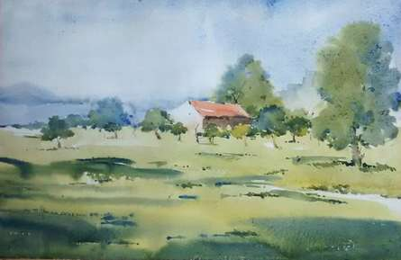 Backside of Mihan   Painting by artist Ghanshyam Dongarwar   watercolor   cold pressed