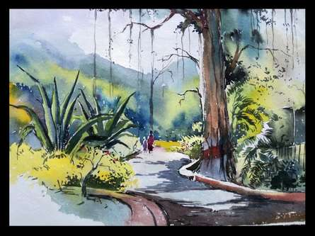 Ghanshyam Dongarwar | Watercolor Painting title Maharajbagh on Mat | Artist Ghanshyam Dongarwar Gallery | ArtZolo.com