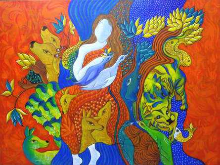 contemporary Acrylic Art Painting title 'Bonding with Nature' by artist Hariom Kuthwaria
