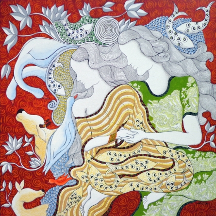 contemporary Acrylic-pen Art Painting title 'The Lovers' by artist Hariom Kuthwaria