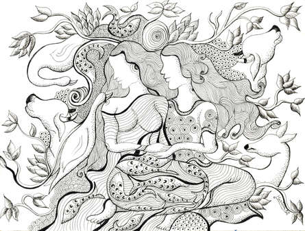 Expressionist Pen-ink Art Drawing title 'The Lovers -I' by artist Hariom Kuthwaria