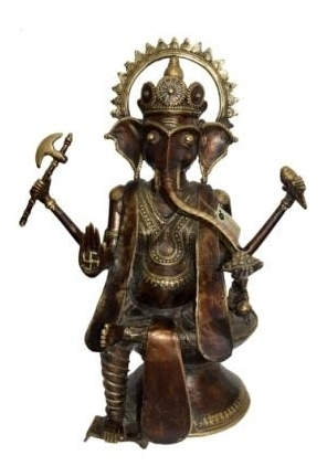 Kushal Bhansali | Lord Ganesha Sculpture by artist Kushal Bhansali on Brass | ArtZolo.com