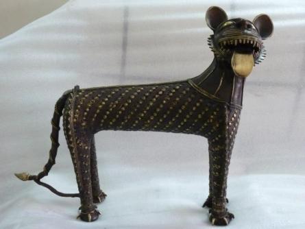 Brass Sculpture titled 'Baghel Tiger Big' by artist Kushal Bhansali