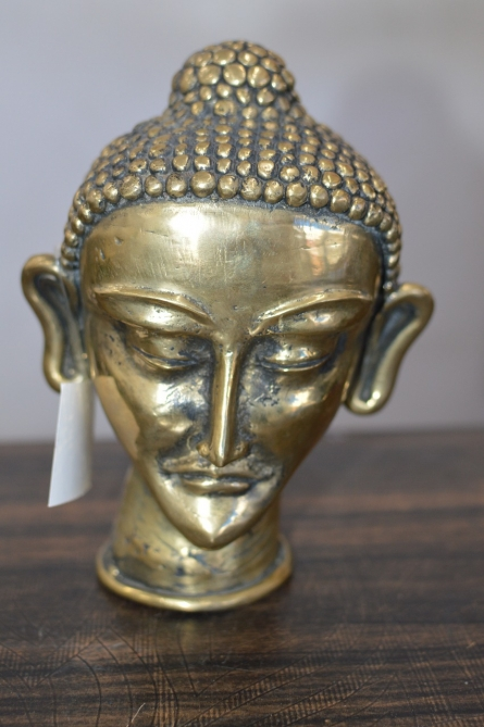 Brass Sculpture titled 'Buddha Head' by artist Kushal Bhansali