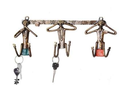 Gandhis Three Monkey Key Hanger   Craft by artist Bhansali Art   Brass