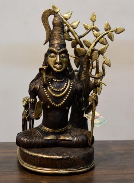 Kushal Bhansali | Lord Shiva Sculpture by artist Kushal Bhansali on Brass | ArtZolo.com
